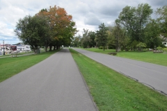 Walking trail on the left, wheeled vehicle trail<br /> on the right, boat club in the distance