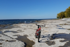 Mountain biking at Wehle, along the stone shore.