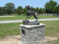A statue of one of Wehle's favorite dogs.
