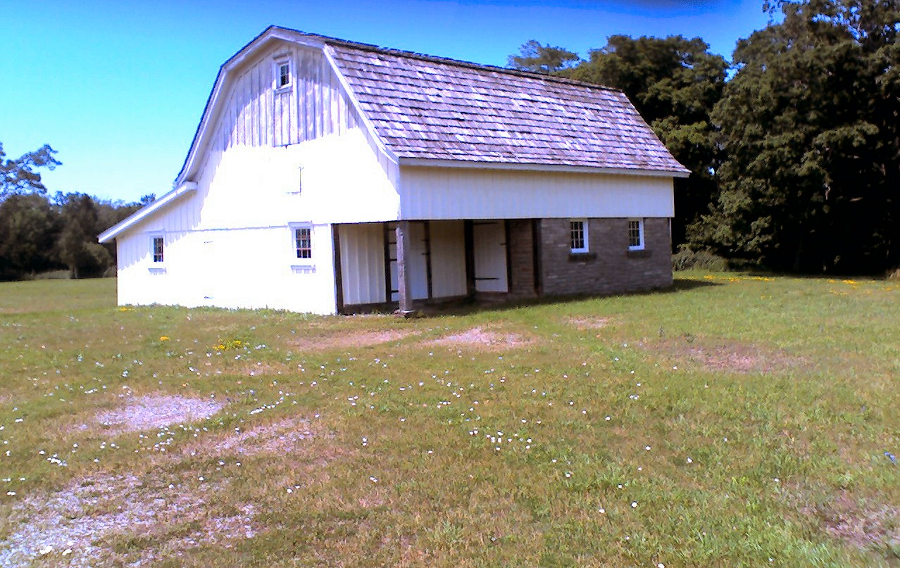 One of the barns on the property.